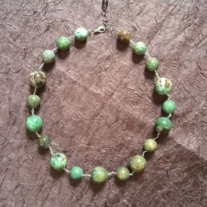 Handmade green bead necklace